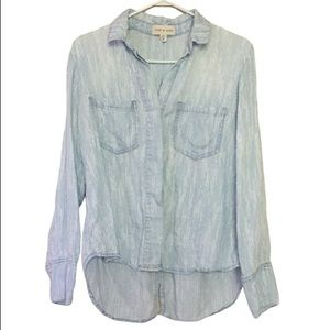 Cloth & Stone Light Blue Button Up Collared Top